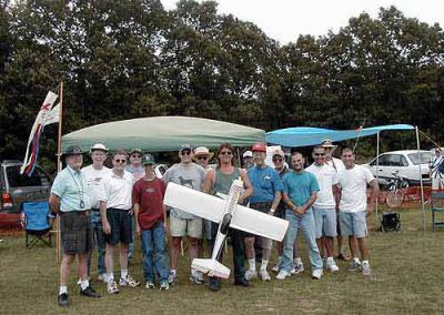 Group of pilots at the old Millis flying field